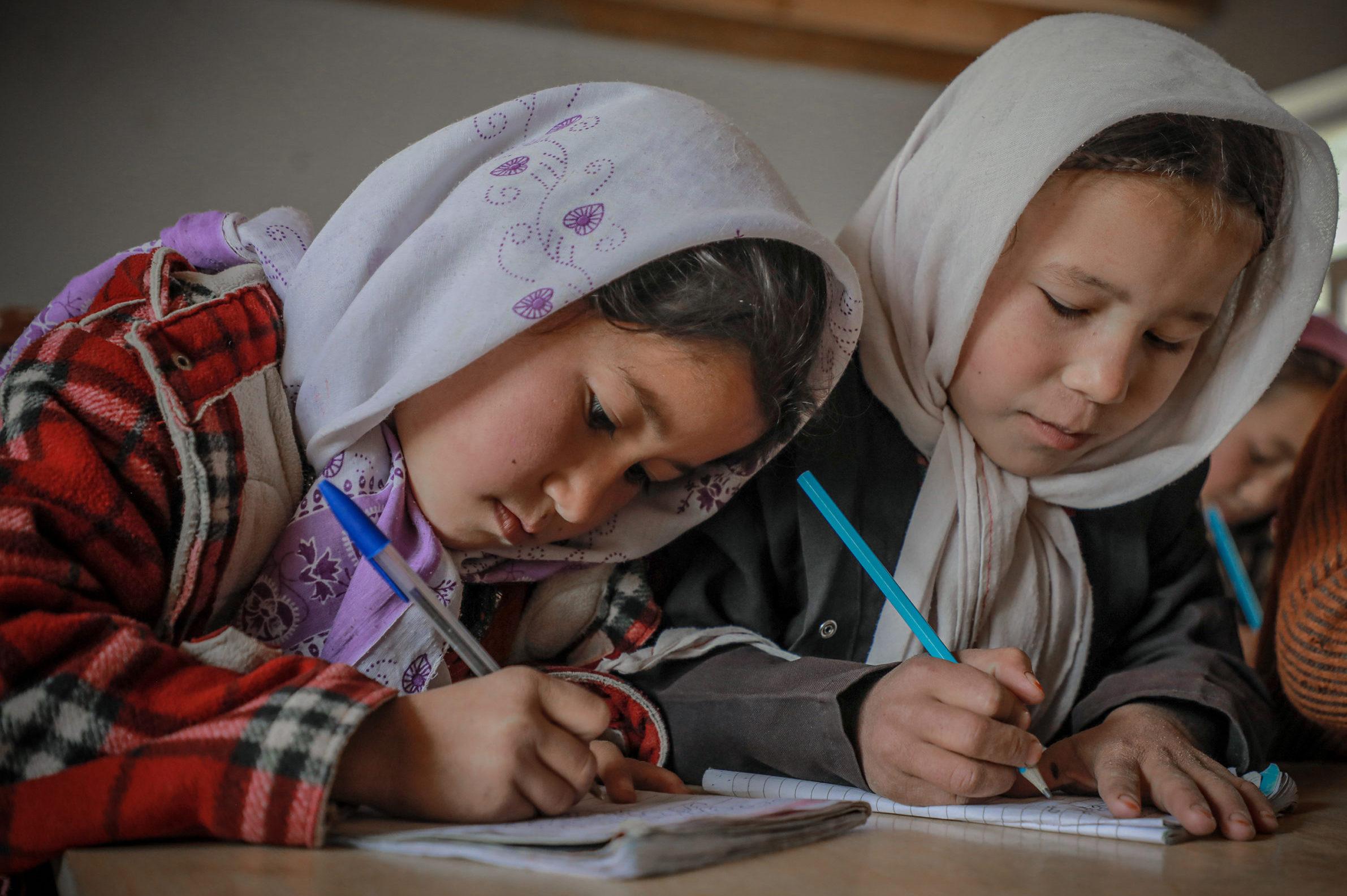 Schoolgirls studying in a school in northern Afghanistan.