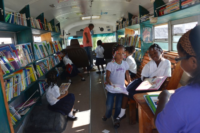 The inside of the bookmobile