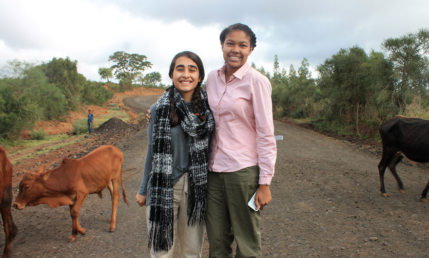 Havana (left) and Hannah interact with the local wildlife in southern Ethiopia, near Wailata town.