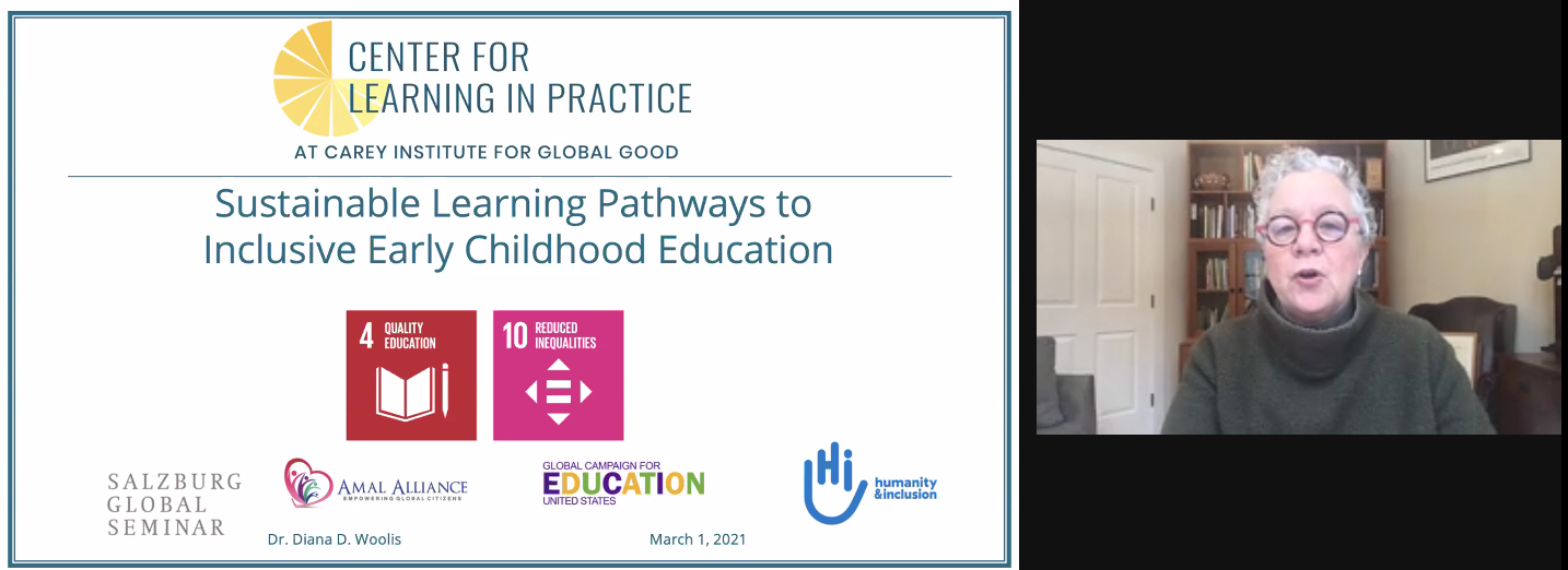 Dr. Diana Woolis presenting from the Center for Learning in Practice at Carey Institute for Global Good