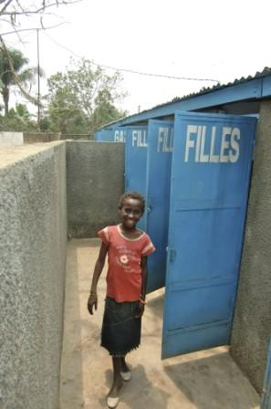New latrines at a school in the DRC