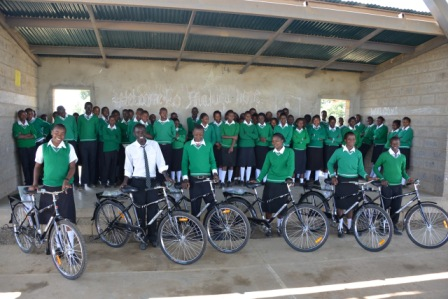 Mahiga Hope students with bicycles