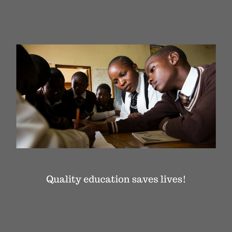 A group of girls in a global classroom are working on a project.The caption reads quality education saves lives!