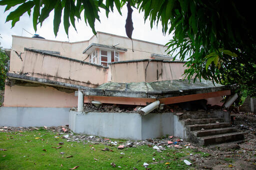 A damaged school building in Les Cayes, Haiti following the 7.2 Magnitude Earthquake. August 17, 2021. UNICEF.