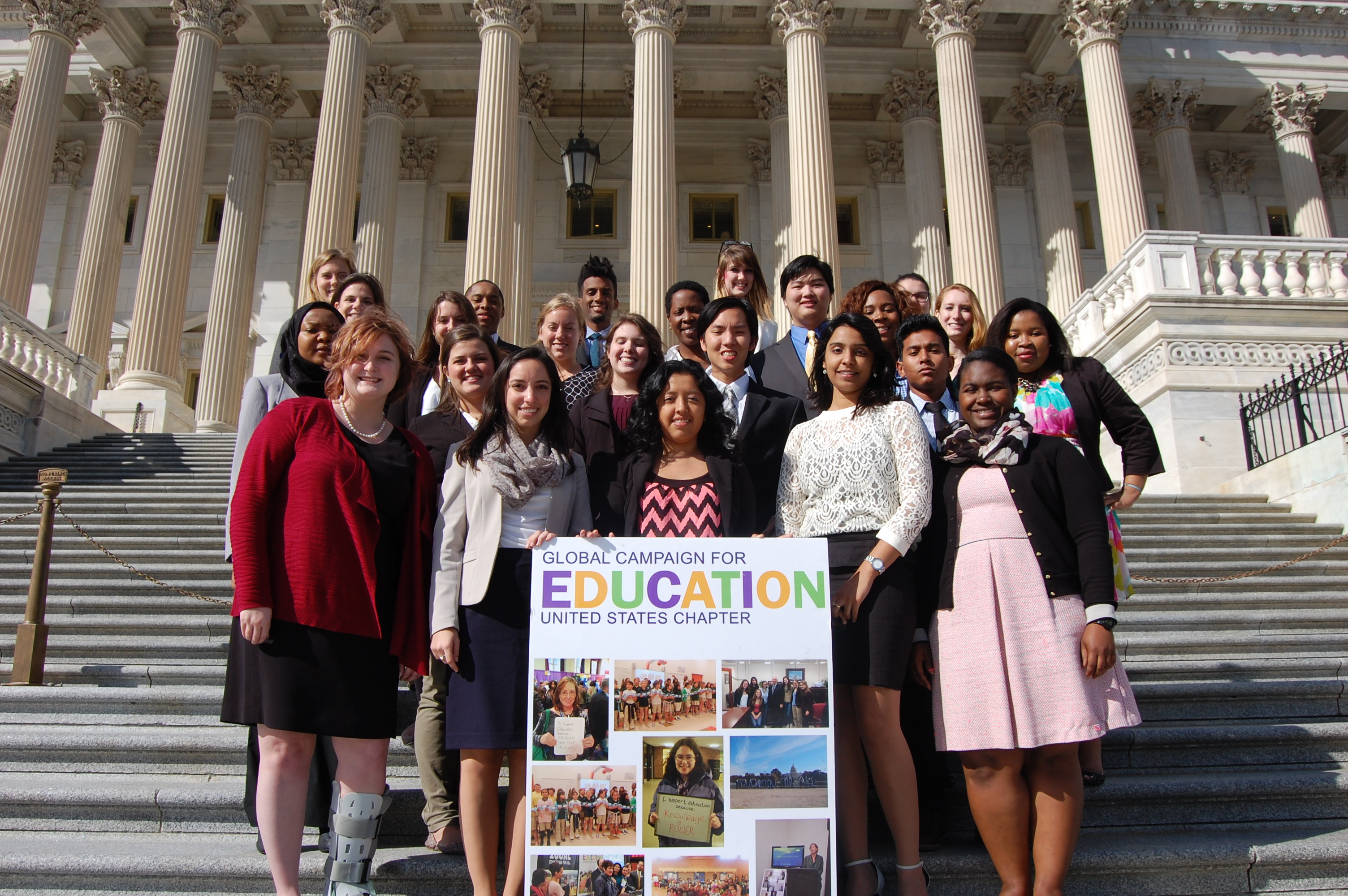 Photo taken by GCE-US shows a group of youth leaders posing with a global education sign on Capitol Hill.