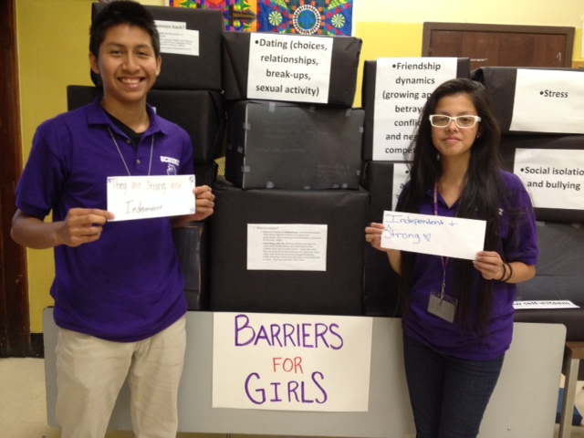 Schurz high school students boxing out the barriers