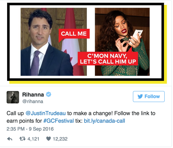 Rihanna's tweet to PM Justin Trudea calling on him to make a change