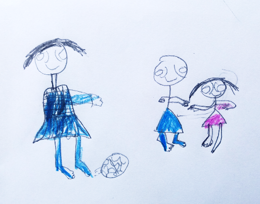 Photo credit: Impact Network, the photo shows a picture of a child's drawing of a boy and a girl playing soccer.