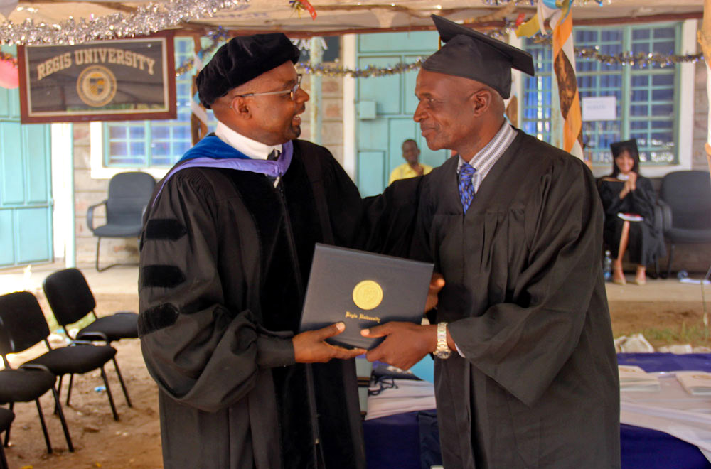 At 55 years of age, Geoffrey Wafula Masika was the oldest graduate of the third JCHEM diploma cohort in Kakuma (Angela Wells — Jesuit Refugee Service)