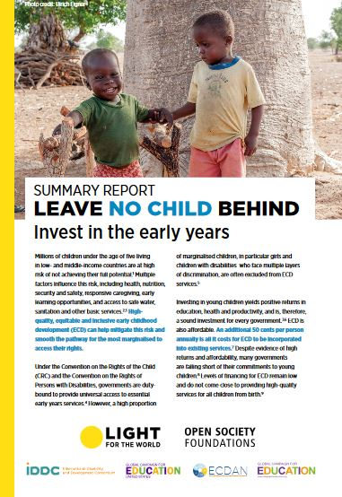 Leave No Child Behind: Invest in the Early Years