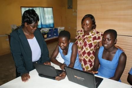 Girls learning ICT