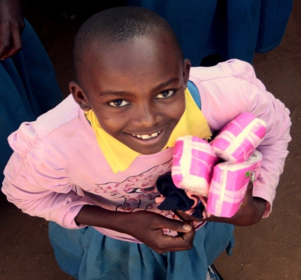 young girl with sanitary packs